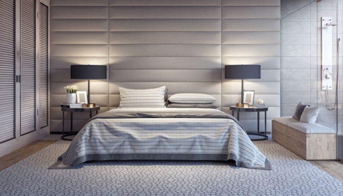camera da letto con lampade da comodino